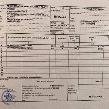 Rechnung über die vorgenommenen Kastrationen  304,66 €